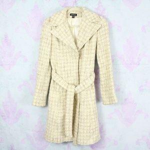 Bebe Yellow Cream Tweed Wool Blend Belted Peacoat